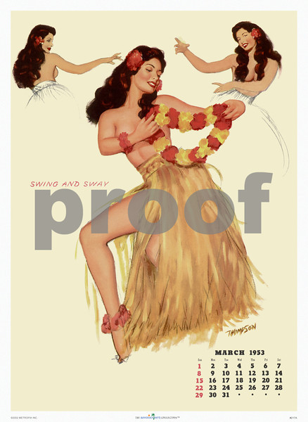 217: 'Swing And Sway' Vintage Hawaiian Pinup Calendar Page from March 1953. Illustration art by American pinup artist Thompson, depicting three different views of an attractive, but certainly non-native, topless hula dancer. (PROOF watermark will not appear on your print)