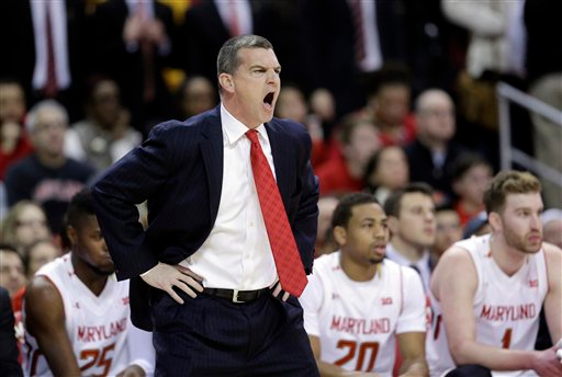 . Maryland head coach Mark Turgeon reacts in the first half of an NCAA college basketball game against Michigan, Saturday, Feb. 28, 2015, in College Park, Md. (AP Photo/Patrick Semansky)