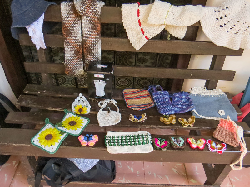 Items for sale by the crochet/knitting group.