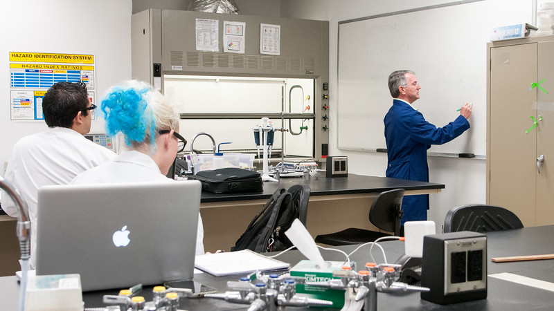 Professor Dr Tim Causgrove demonstrates the structure of chemical models in his Physical Chemistry 2  Class.