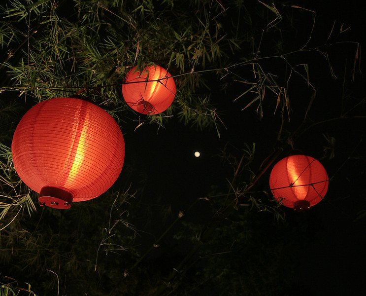 Mid-Autumn Festival Lanterns and and a full moon
