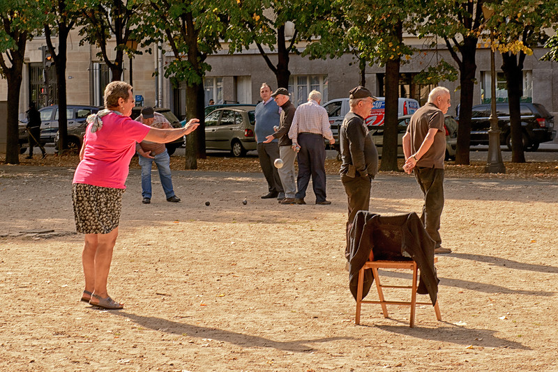 Woman petanque player - very unusual to see women playing