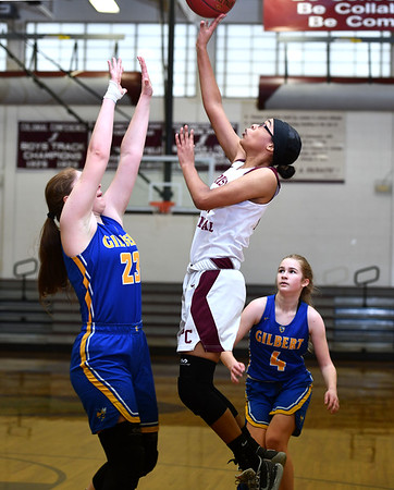 12/31/2019 MIke Orazzi | StaffrGilbert's Ajla Gutic (23) and Bristol Central's Janessa Bartell (14) during Tuesday's girls basketball game at Bristol Central in Bristol.