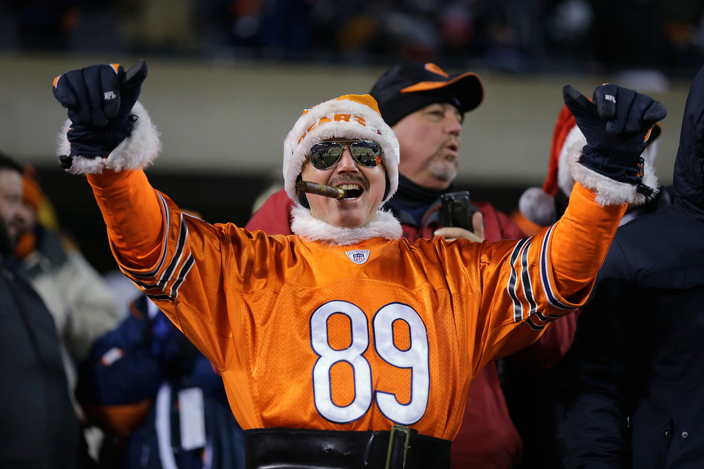 . Chicago Bears fan Bill Strawn, of Chicago,is dressed in a No. 89 jersey to honor former Chicago Bears player and football coach Mike Ditka before an NFL football game between the Chicago Bears and the Dallas Cowboys, Monday, Dec. 9, 2013, in Chicago. Mike Ditka will have his No. 89 retired during a halftime ceremony. (AP Photo/Nam Y. Huh)