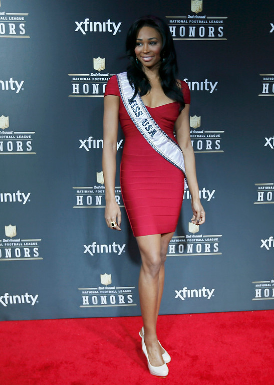 . Miss USA Nana Meriwether arrives at the 2nd Annual NFL Honors in New Orleans, Louisiana, February 2, 2013. The San Francisco 49ers will meet the Baltimore Ravens in the NFL Super Bowl XLVII football game February 3.  REUTERS/Lucy Nicholson