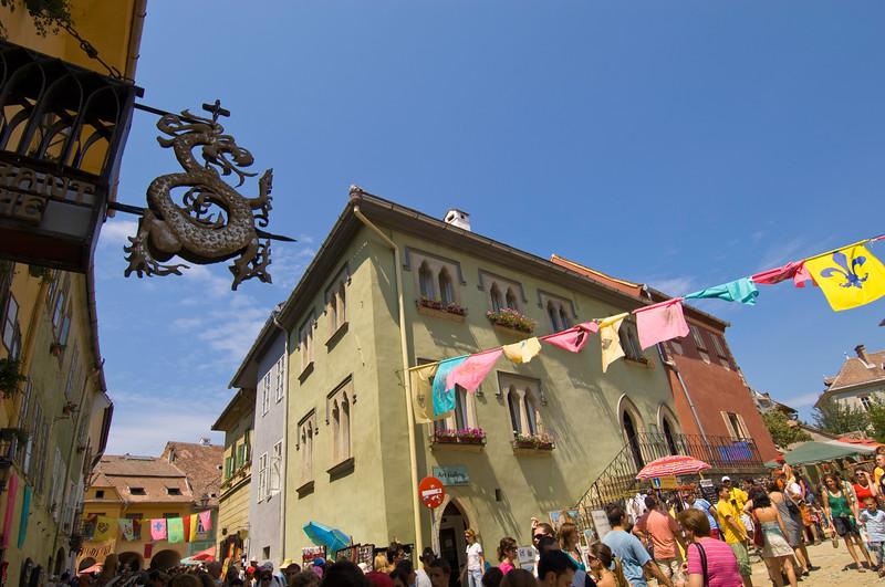 Street scene during summer festival , Citadel, Sighisoara, Transylvania, Romania