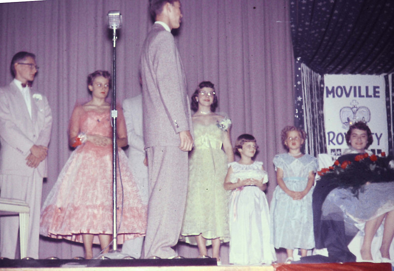 1956-10 - H'coming - Dwaine Voas singing to Queen Sharon Preston