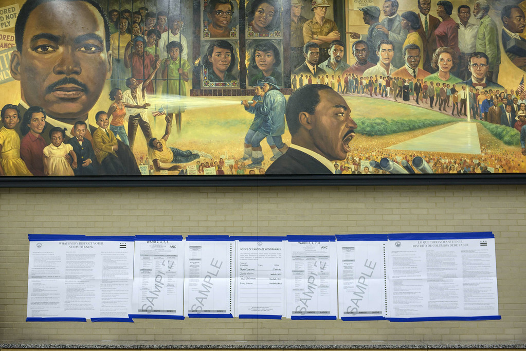 . Sample ballots are seen at the Martin Luther King Library on November 4, 2014 in Washington, DC. Voters around the United States went to the poles to vote in the 2014 interim election. AFP PHOTO/Brendan  SMIALOWSKI/AFP/Getty Images