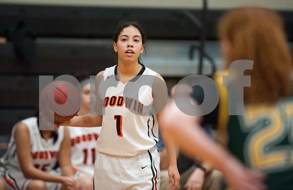 12/12/17 Wesley Bunnell | Staff E.C. Goodwin girls basketball defeated O'Brien Tech 43-27 on Tuesday evening at E.C. Goodwin High School. Aiyana Montes (1).