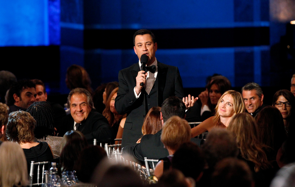 . Television host Jimmy Kimmel speaks at the American Film Institute\'s 41st Life Achievement Award Gala at the Dolby theatre in Hollywood, California June 6, 2013. Producer Mel Brooks was honoured with the award. REUTERS/Mario Anzuoni