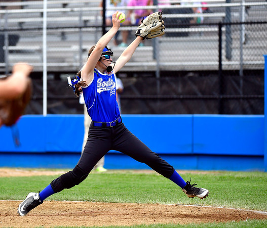 7/25/2019 Mike Orazzi | Staff Pennsylvania's Alizabeth Schuler (12) during the Eastern Regional Softball Tournament at Breen Field in Bristol on Thursday.