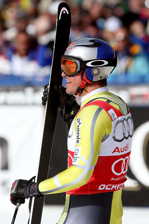 . Aksel Lund Swindal #18 of Norway leaves the finish area during the men\'s downhill on the Birds of Prey at the Audi FIS World Cup on November 30, 2012 in Beaver Creek, Colorado.  (Photo by Matthew Stockman/Getty Images)