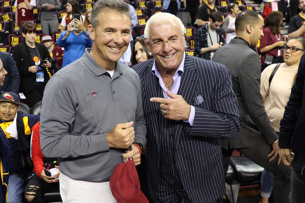 . Tim Phillis - The News-Herald Ohio State football coach Urban Meyer and Ric Flair before Game 3 of the NBA Finals between the Cavaliers and Warriors on June 7 in Cleveland.