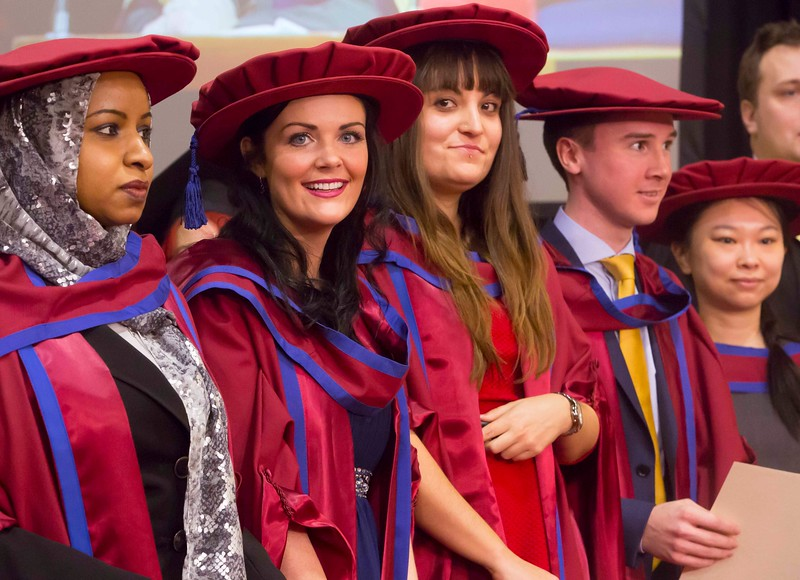 Waterford Institute Of Technology Conferring. Pictured at WIT Waterford Institute Of Technology Conferring are Reem Elsiddig, Waterford, Gemma McCarthy, Waterford, Maria Luz Prieto, Waterford, David O'Niell, Kilkenny, Shiau Pin Tan, Waterford who were conferred a Doctor of Philosophy. Picture: Patrick Browne