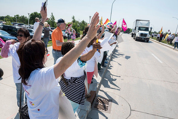 DAVID LIPNOWSKI / WINNIPEG FREE PRESS  CUPE Members protest budget cuts outside of Grace Hospital Tuesday July 18, 2017. The event was organized by CUPE Local 1599, representing health-care support staff at the hospital.