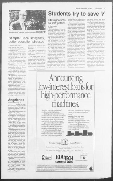 Daily Trojan, Vol. 116, No. 65, December 09, 1991