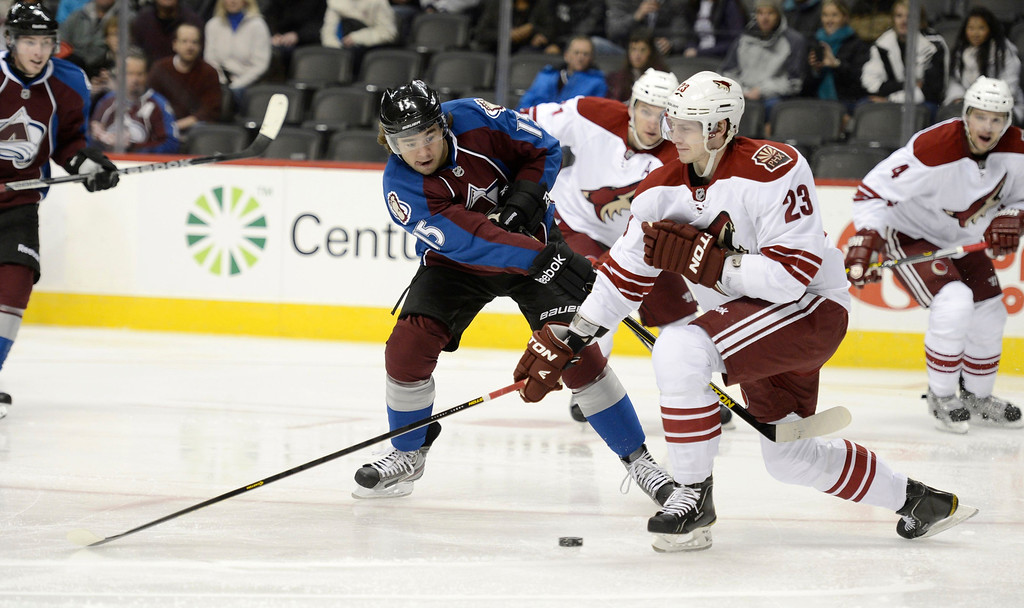 . DENVER, CO. - FEBRUARY 11: PA Parenteau (15) of the  Colorado Avalanche takes a shot on goal past  OliverEkman-Larsson (23) of the Phoenix Coyotes during the first period February 11, 2013 at Pepsi Center.(Photo By John Leyba/The Denver Post)
