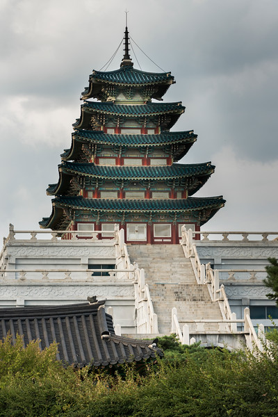 Low angle view of traditional building, National Folk Museum of Korea, Gyeongbokgung Palace, Seoul, South Korea,