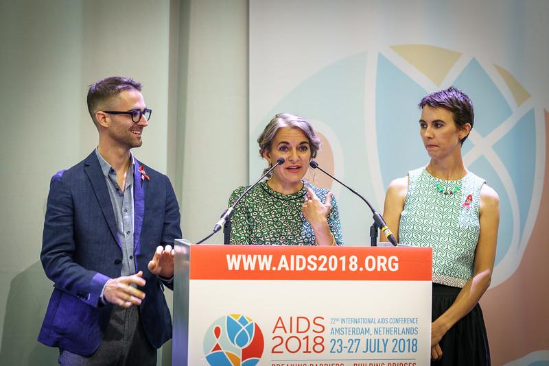 22nd International AIDS Conference (AIDS 2018) Amsterdam, Netherlands.   Copyright: Matthijs Immink/IAS  Global Village Opening  Photo shows: Elizabeth Taylors Grandchildren