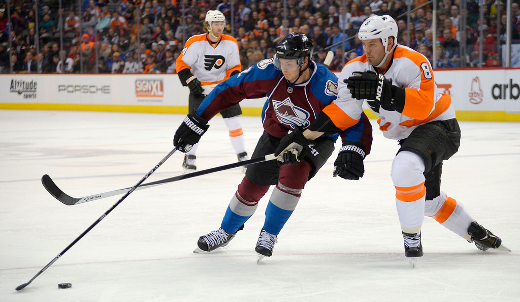 . Colorado Avalanche defenseman Nick Holden (2) skates to the puck as Philadelphia Flyers defenseman Nicklas Grossmann (8) defends on the play during the first period January 2, 2014 at Pepsi Center. (Photo by John Leyba/The Denver Post)