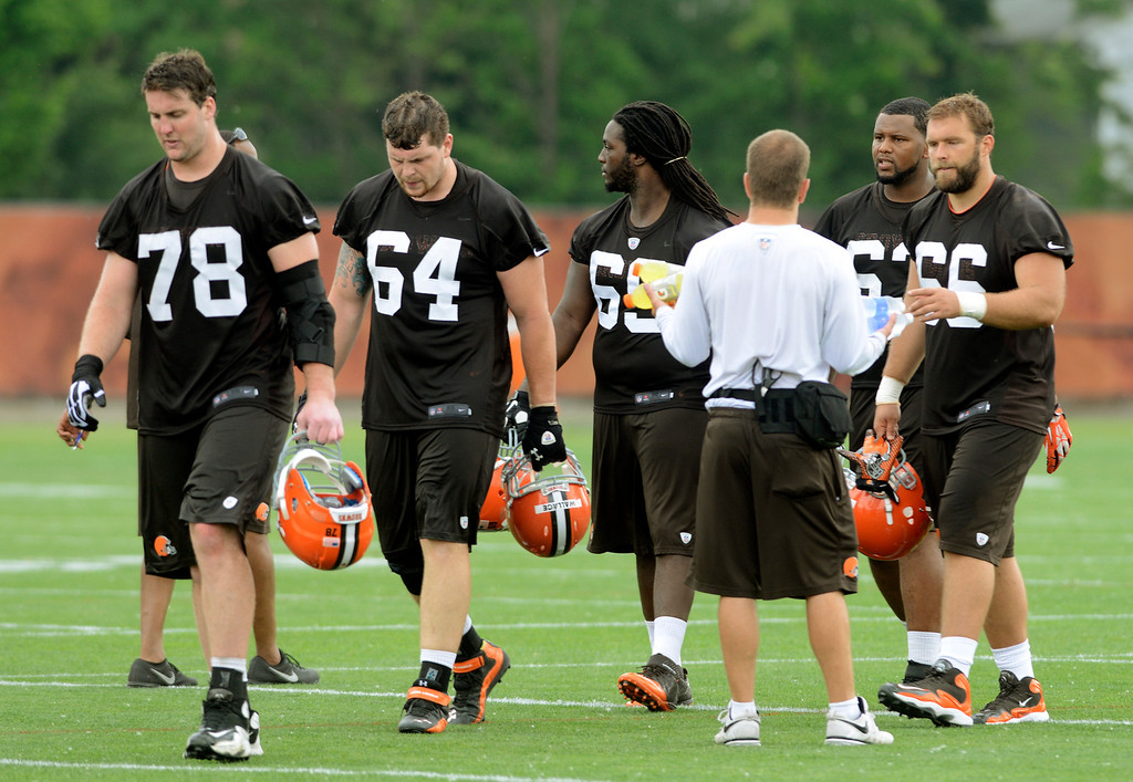 . Maribeth Joeright/MJoeright@News-Herald.com <p> Browns players leave the field at the end of practice in Berea, June 10, 2014. In the foreground is Reid Fragel (78) and Marin Wallace (64).
