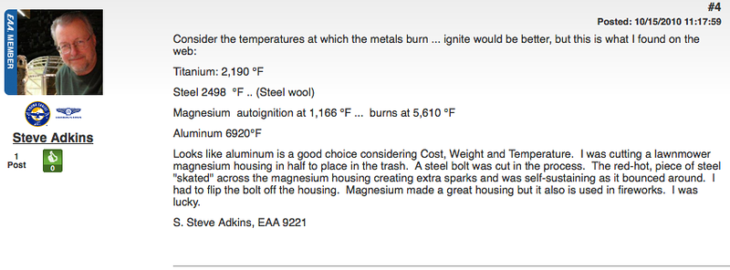 Somebody pitched the idea of using another metal for firewalls on EAA forum.