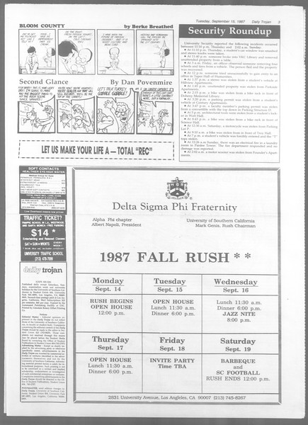 Daily Trojan, Vol. 105, No. 9, September 15, 1987