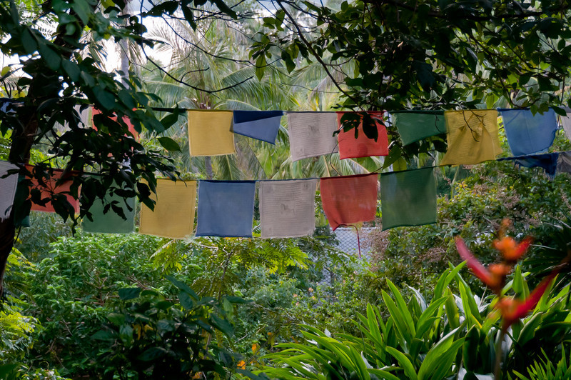 Colorful fabric hung on clothesline in Ko Samui, Thailand
