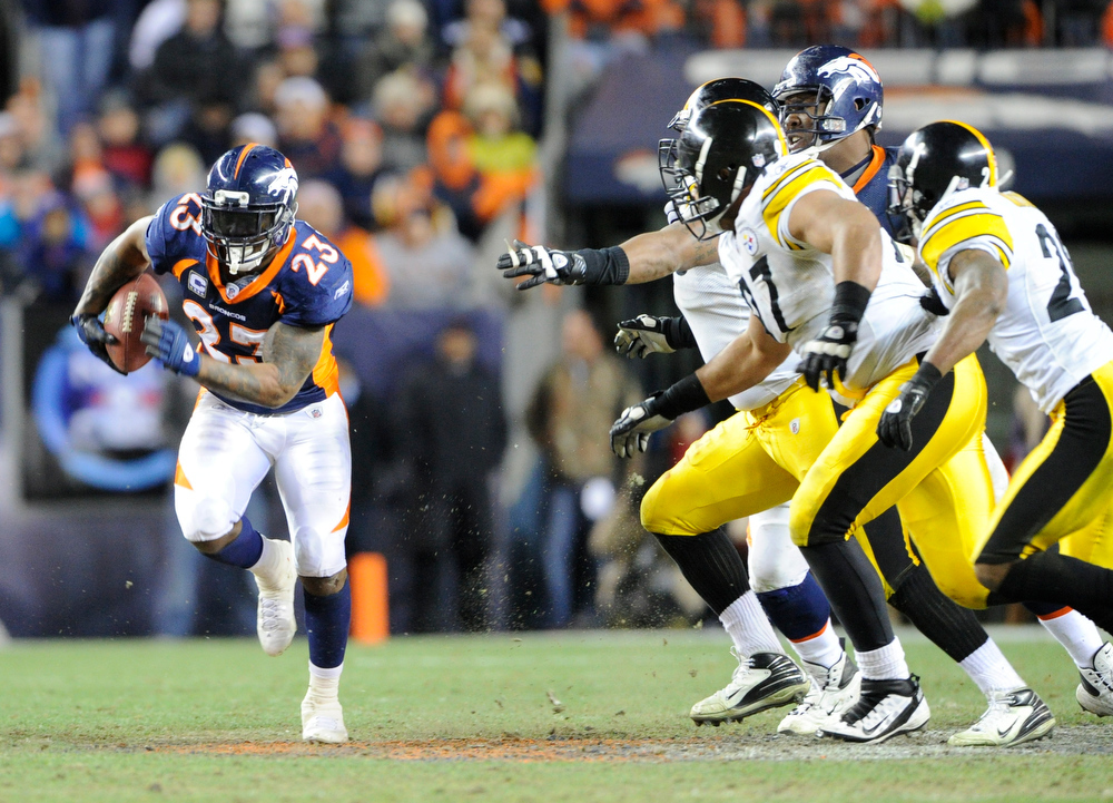 . Denver Broncos running back Willis McGahee during the fourth quarter of play against the Pittsburgh Steelers in the first round of the AFC playoffs Sunday January 8, 2012 at Sports Authority Field at Mile High.  HYOUNG CHANG, The Denver Post