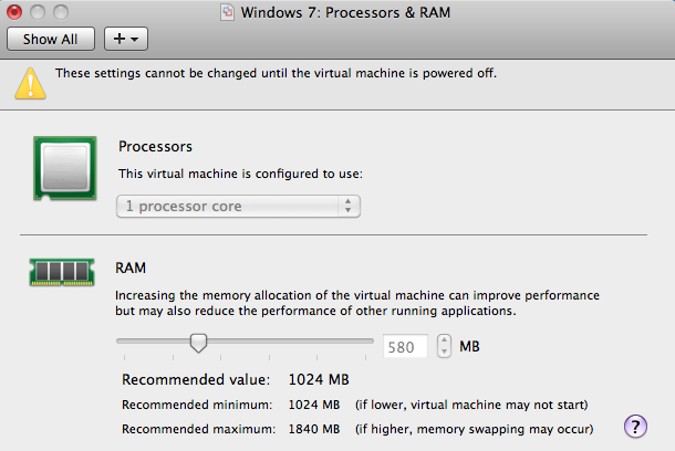Reduce RAM to 580MB