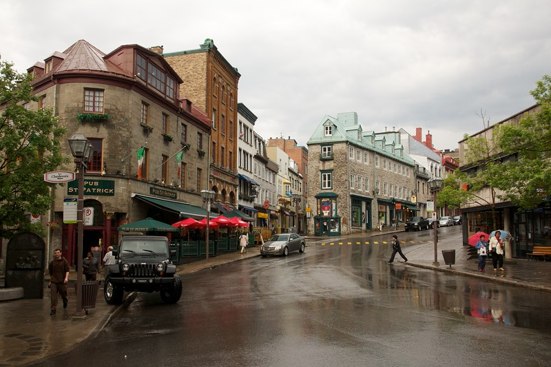 Rainy day in Quebec City, Canada. Rue Saint Jean & Cote de la Fabrique
