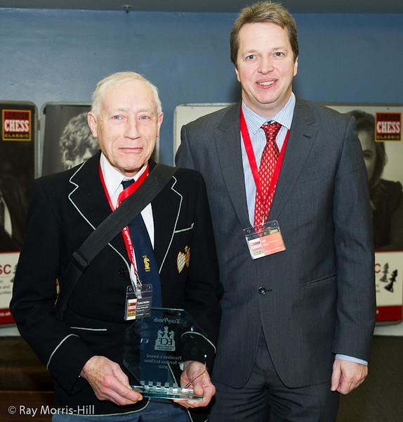 Nigel Short presented the ECF President's Award for Services to Chess Tony Paish