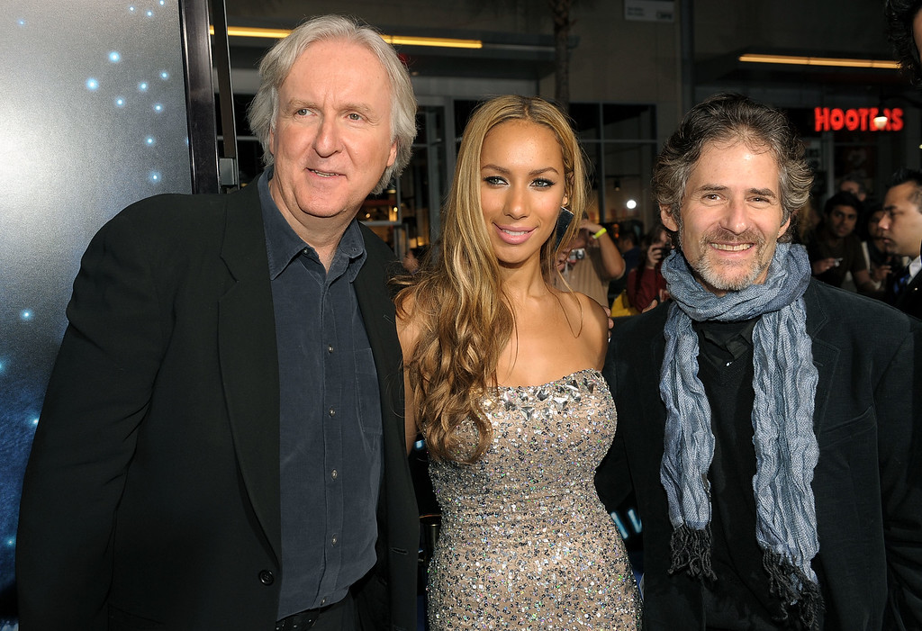 ". Director James Cameron, singer Leona Lewis and composer James Horner arrive at the premiere of 20th Century Fox\'s ""Avatar\"" at the Grauman\'s Chinese Theatre on December 16, 2009 in Hollywood, California.  (Photo by Kevin Winter/Getty Images)"