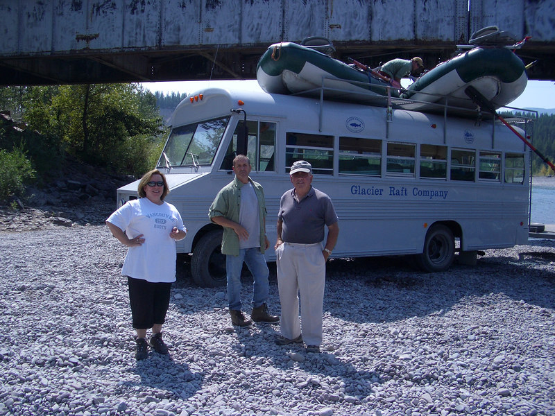 The crew (Linda, Dick, Papaw) after the float fishing trip.