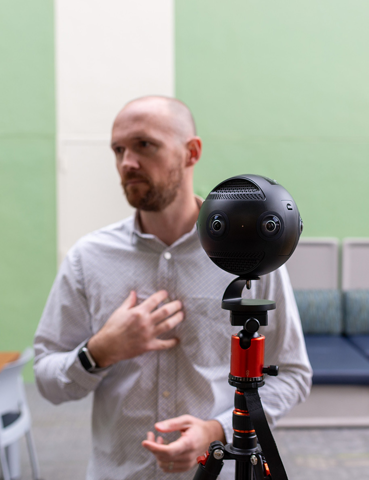 Greer works with the 360-degree camera