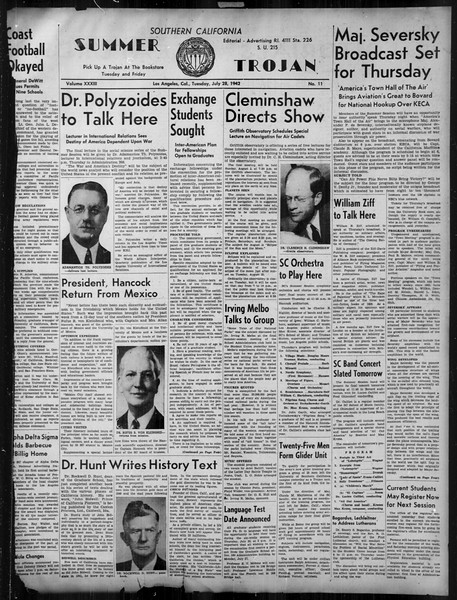 Summer Trojan, Vol. 33, No. 11, July 28, 1942