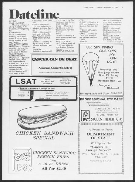 Daily Trojan, Vol. 91, No. 49, November 10, 1981