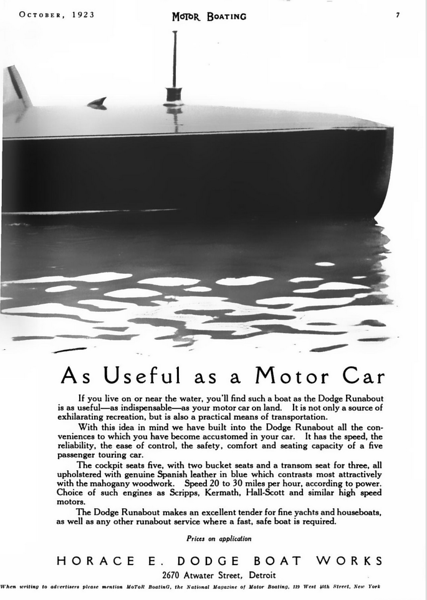 MotorBoating 1923 2670 Atwater Street Dodge Ad2.png