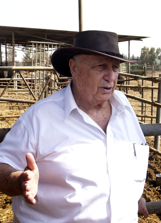 . n this handout provided by the Israeli Governmental Press Office, Israeli Prime Minister Ariel Sharon wears a cowboy hat by the catle pens outside his home August 27, 2002 at Shikmim Ranch in southern Israel.  (Photo by Moshe Milner/GPO via Getty Images)