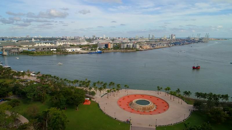 Aerial establishing shot Port Miami 4k