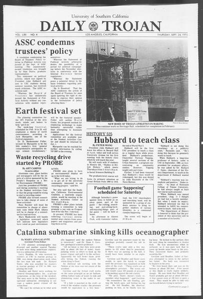 Daily Trojan, Vol. 62, No. 4, September 24, 1970