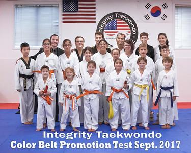 Integrity Taekwondo - September 2017 Color Belt Promotion Test
