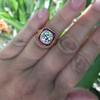 3.12ct Old European Cut Diamond Ruby Halo Ring, GIA L  27