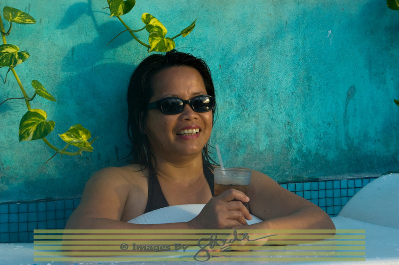 Isabel enjoying her rum n coke