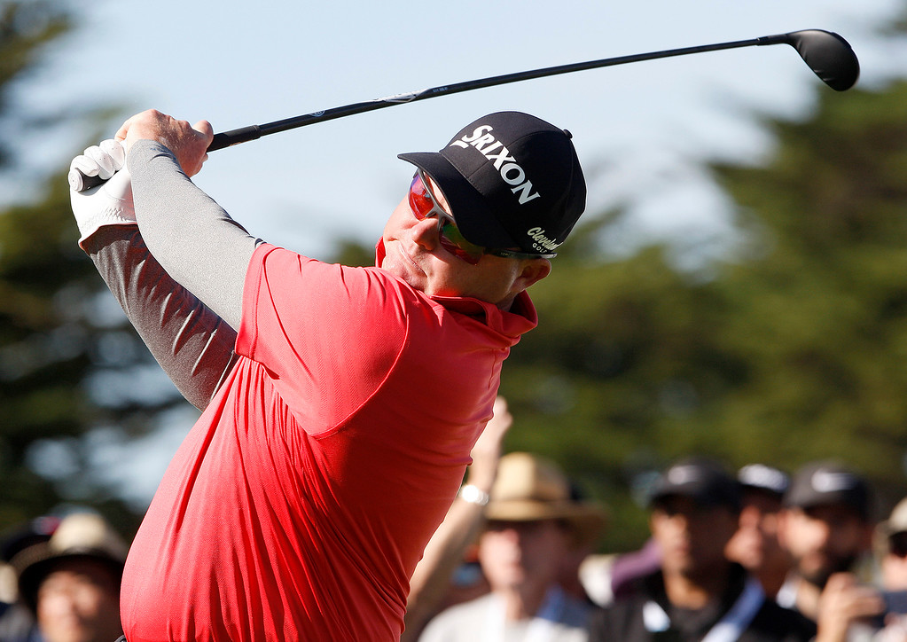 . Ted Potter Jr. tees off on the 4th hole at the Pebble Beach Golf Links during the final round of the AT&T Pebble Beach Pro-Am on Sunday, Feb. 11, 2018.  Potter went on to win the tournament by three strokes.   (Vern Fisher - Monterey Herald)
