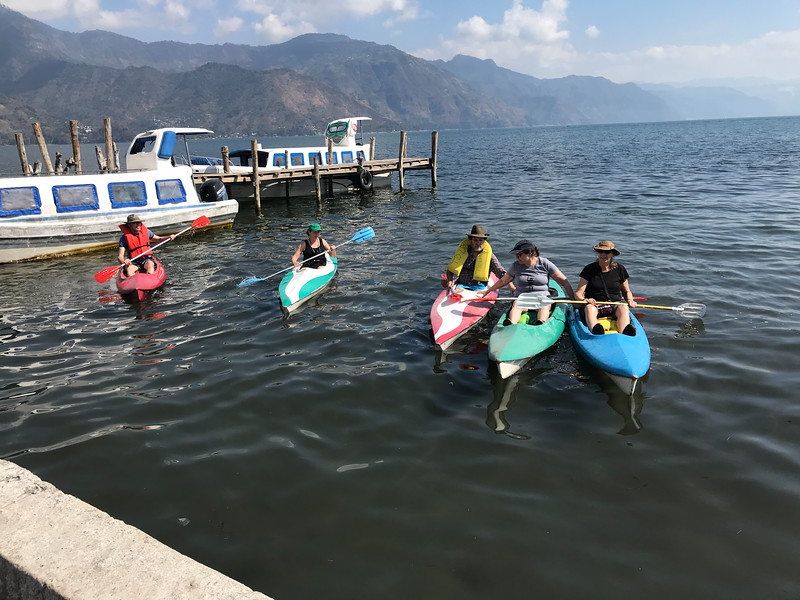 Volunteers kayaking at Lake Atitlan
