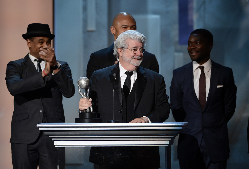 . LOS ANGELES, CA - FEBRUARY 01:  Producer George Lucas accepts Vanguard Award onstage during the 44th NAACP Image Awards at The Shrine Auditorium on February 1, 2013 in Los Angeles, California.  (Photo by Kevin Winter/Getty Images for NAACP Image Awards)