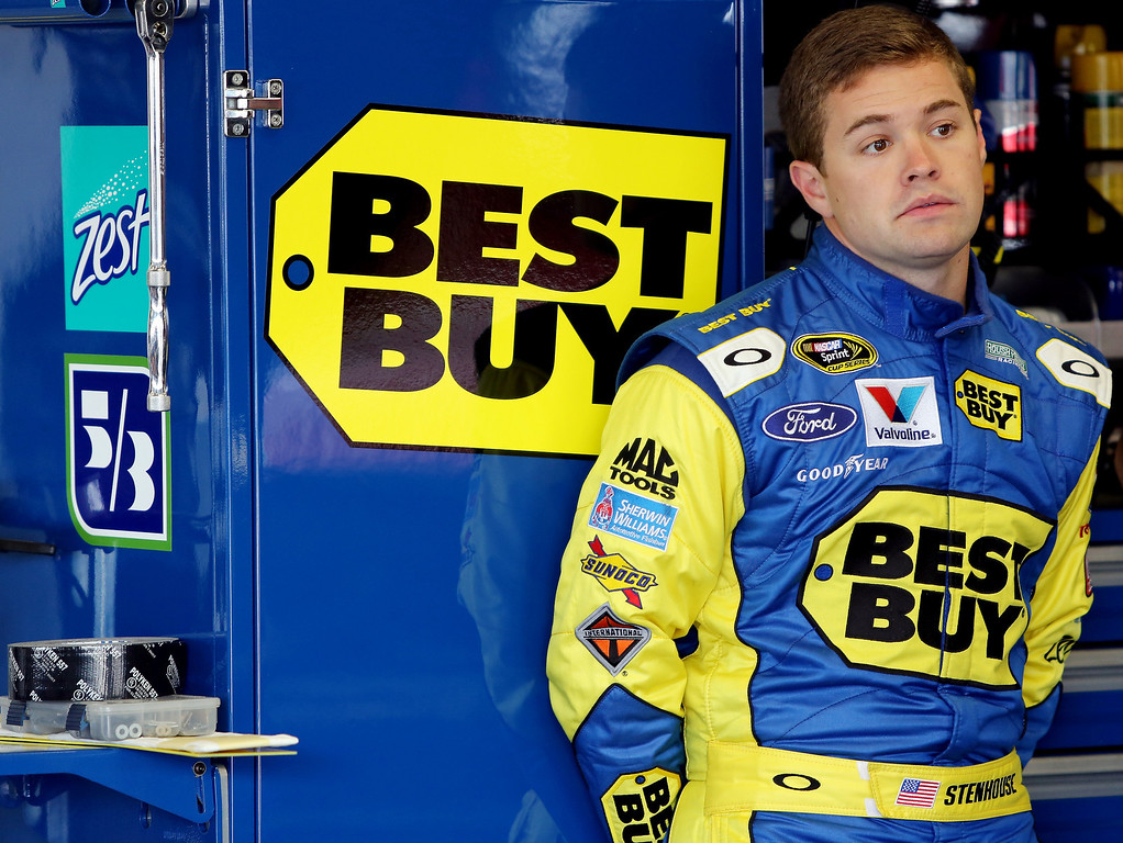 . DAYTONA BEACH, FL - FEBRUARY 20:  Ricky Stenhouse Jr., driver of the #17 Best Buy Ford, stands in the garage area during practice for the NASCAR Sprint Cup Series Daytona 500 at Daytona International Speedway on February 20, 2013 in Daytona Beach, Florida.  (Photo by Jerry Markland/Getty Images)