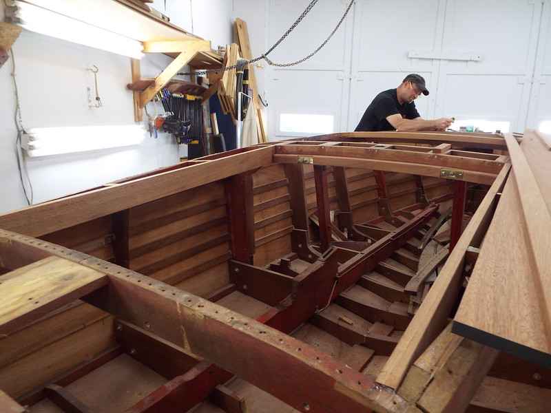 Rear starboard view of new engine hatch frame installed.
