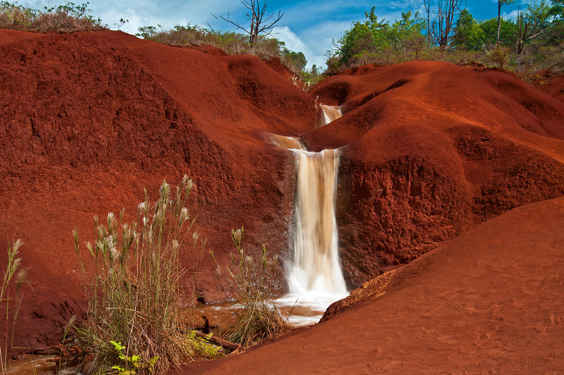 On the road up to Waimea Canyon we saw this neat little waterfall with some awesome red soil and decided to pull over. I took this long exposure waterfall shot after hiking down to the little falls.